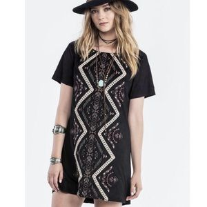 Miss Me Embroidered Shift Dress Faux Suede Black S